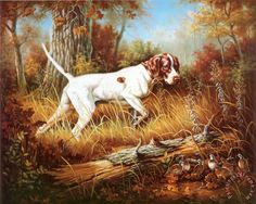 Judy Gibson Pointer with Quail print for sale. Shop for Judy Gibson Pointer with Quail painting and frame at discount price, ships in 24 hours. Quail Hunting, Hunting Art, Hunting Dogs, English Pointer Dog, Norman Rockwell Paintings, Pointer Puppies, Animal Magic, Horses And Dogs, Outdoor Dog