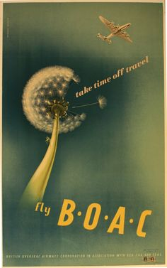 Fly BOAC, - original vintage poster by Norman Weaver listed on… British European Airways, British Airline, Airline Travel, Air Travel, Vintage Travel Posters, Vintage Airline, Sunshine Holidays, Graphic Design Posters, Illustrations