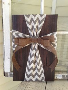 Rustic Burlap Cross Wood Sign Wall Decor  Ready by simpleandsage