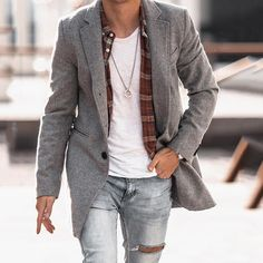 Gray Jacket, Men's Jacket, Mens Fashion Wear, Men's Coats And Jackets, Double Breasted Coat, Casual Street Style, One Piece Swimwear, Latest Fashion Clothes, Sleeve Styles