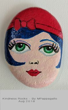 Face Painted Rock – Aug 2018 – Art – Art is my life. Painted Garden Rocks, Painted Rocks Craft, Hand Painted Rocks, Rock Painting Patterns, Rock Painting Ideas Easy, Rock Painting Designs, Paint Ideas, Stone Art Painting, Pebble Painting