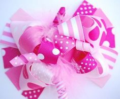boutique FUNKY fun ALL PINK hair bow clip by andjane on Etsy, $12.99