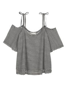 Gently flared, off-the-shoulder top in airy, ribbed viscose-blend fabric. Double fabric layers at front. Narrow shoulder straps with attached bow and short, flared sleeves. - Visit hm.com to see more.