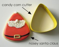 Nosey Santa Cookies from a Candy Corn Cutter | Make Me Cake Me