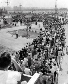 The line for Disneyland on opening day.