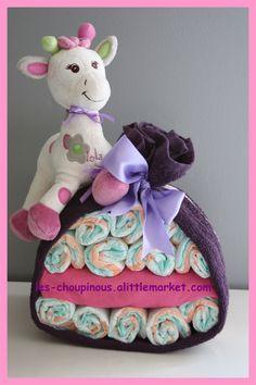 Cadeau naissance baptême gâteau de couches fille girafe : Décoration pour…