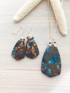 Blue & Bronze Earrings Blue Stone Earrings Boho by LaniMakana