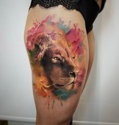 Graceful Lion Portrait Tattoo on Girls Thigh | Best tattoo design ideas