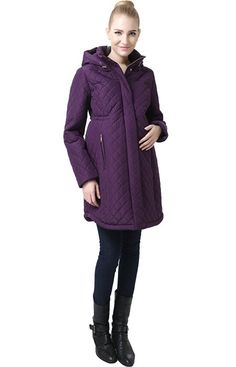 "Momo Maternity ""Prue"" Quilted Parka Coat - Amethyst S"