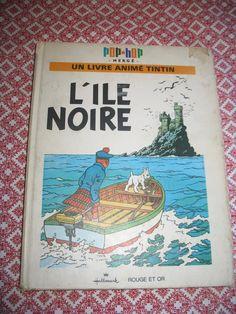 Vintage Album animé Tintin pop hop - L'ILE NOIRE - E.O. 1970 - Hergé édition francaise 1070 de la boutique NorDass sur Etsy