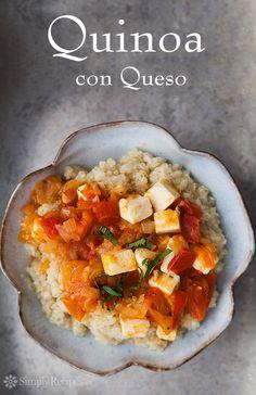 Quinoa con Queso ~ Quinoa served with sauce of fresh tomatoes, onions, garlic, and queso fresco, or fresh farmer's cheese. ~ SimplyRecipes.com