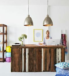 recycled timber run horizontally, but not rough (too done)