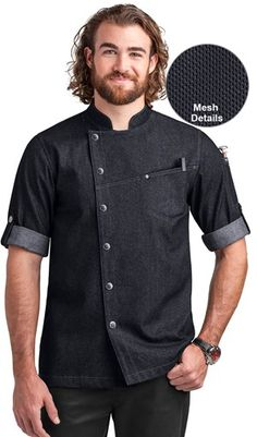 Chef Uniforms - Men's Premium Denim Mesh Rolled-Up Sleeves Chef Coat Blue W/ Black - S Chef Dress, Chef Shirts, Men In Uniform, Uniform Shop, Mens Kurta Designs, Roll Up Sleeves, Short Sleeves, Gerry Weber, Pant Shirt