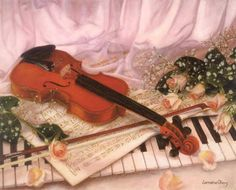 painting of violin and piano. Piano, Photo Class, Vintage Lettering, Deceit, Beautiful Drawings, Music Notes, Retro, Album, Gifs