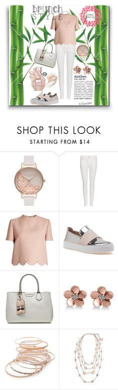 """""""Brunch Style Happy Mother's Day"""" by emperormpf ❤ liked on Polyvore featuring Olivia Burton, Polo Ralph Lauren, Valentino, Stuart Weitzman, Karl Lagerfeld, Allurez, Red Camel and Karine Sultan"""