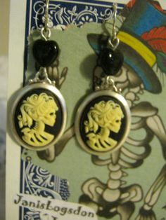 Miss Skeleton Cameo and Hearts Earrings by jansbeads on Etsy, $18.50