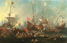 Enlarged Picture: Oil Painting - The Battle of Lepanto - Birmingham Museums & Art Gallery Information Centre
