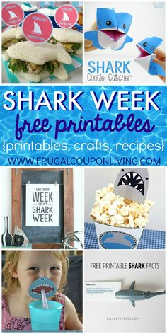 Shark Week Ideas and FREE Shark Week printables for Kids on Frugal Coupon Living. Shark Week Ideas for Kids on Frugal Coupon Living. Are you a fish out of water when it comes to planning the perfect themed party? For me, it takes days to sometimes Shark Pool, Baby Shark, Shark Craft, Shark Week Crafts, Shark Facts, Hai, Boy Birthday, Shark Birthday Ideas, Kindergarten