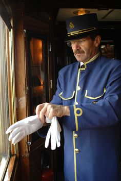 From Paris to Istanbul on the Orient Express; an Attendant on board the Orient Express train - everything is perfect down to the last detail. ~Via Dawn Caskey