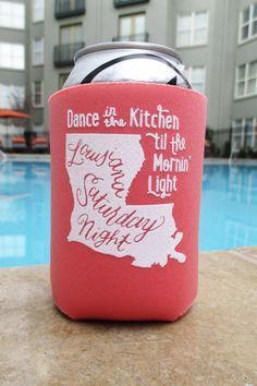 Louisiana Saturday Night Koozie in Coral by ThePinkHousePress, $5.00 ---> Purple and Gold for Football season?