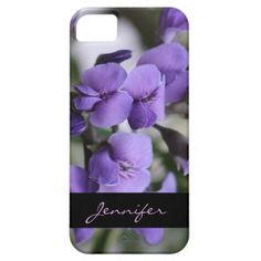 Dainty Purple Wisteria & Black Name Ribbon, Personalized iPhone Case