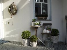 Outside Garden Porch. White, Grey, Chippy, Shabby Chic, Whitewashed, Cottage, French Country, Rustic, Swedish decor Idea.