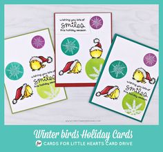 BLOG HOP for the Cards for Little Hearts Card Drive.  Winter holiday cards 2017. Penny Black's Winter Wonderland set. Lawn Fawn. Simon Says Stamp. Ellen Hutson LLC. Hero Arts Bold Inks. Christina Hor Designs.