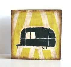 Items similar to Airstream Trailer Black with Yellow Stripes art block on wood austin texas geometric journey travel black red tile studio on Etsy Campers World, Happy Campers, Vintage Travel Trailers, Vintage Campers, Airstream Campers, Tiny Trailers, Red Tiles, Yellow Stripes, Camper Ideas