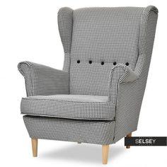 Fotel Malmo pepitka czarno-biały stylowy uszak do salonu - Fotele, Salon - Selsey