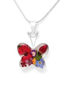 Sterling Silver Butterfly Mini Red Rose Natural Flower Pendant Taxco Mexico #Handmade #Butterfly