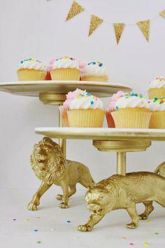 Dollar Store/ Spray Paint/ Insta-fun cake stand  via Rambling Renovators