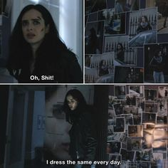 Jessica Jones - Jessica Jones: Oh, Shit! I dress the same every day. Defenders Marvel, Marvel Heroes, Marvel Dc, Jessica Jones Netflix, Jessica Jones Marvel, Krysten Ritter, Marvel Quotes, Pop Culture References, Teen Life