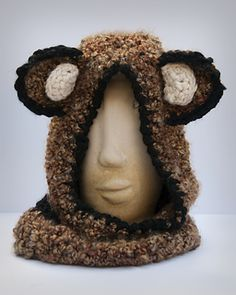 Cuddly Colfax Bear Hooded Cowl - free teen/adult crochet pattern by Nittin' Ninja