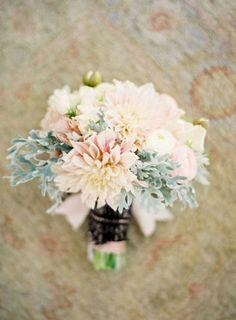 bridesmaids (mainly pink and grey)