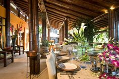 Outdoor dining area in fire sale on luxury home in Escaleras