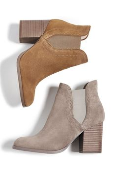 Suede ankle booties with comfortable block heels | Sole Society Carrillo