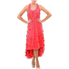 BADGLEY MISCHKA|Silk Chiffon Petal Trapeze Dress |http://www.elilhaam.com/red-colors/badgley-mischka-10900020.html via @Elilhaam