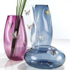 Vasi  e coppe in vetro soffiato con applicazioni in argento 999 - FARFALLE  #vetrosoffiato #argentopuro #arte #design
