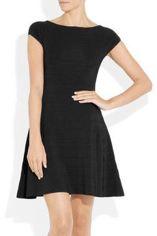 ISSA  Flared ribbed knitted dress