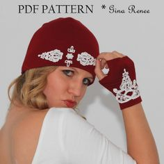 Vintage Inspired Sewing Pattern. Beanie and Fingerless Gloves sewing pattern by GinaReneeDesigns, $10.50