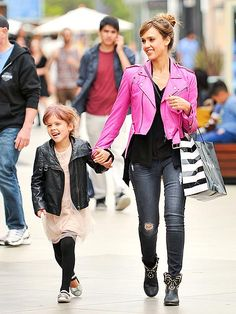 Hollywood's Most Stylish Moms: Who says moms can't wear pink leather jackets? Jessica Alba fashionably rocks one during a shopping trip with daughter Honor.