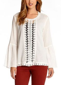 For my Maya:  Lace Crochet Top! So Pretty! Boho Chic Lace Inset Peasant Top!