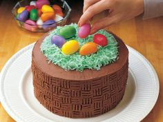 Easter Basket Cake - Offer to bring the dessert when you head to Grandma's house for Easter. Your family will be amazed at your creation