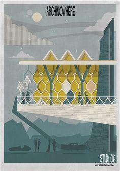 Galeria de ARCHINOWHERE: Um universo arquitetônico paralelo ilustrado por Federico Babina - 8