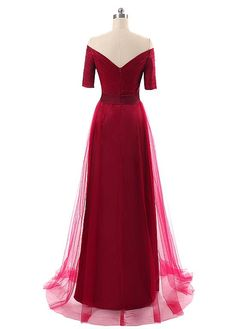 In Stock Gorgeous Tulle Off-the-shoulder Neckline A-Line Evening Dresses With Pleats