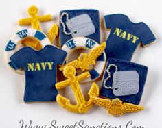 Military Ranks, Navy Military, Royal Icing Cookies, Sugar Cookies, Us Navy Party, Navy Cakes, Military Party, Military Retirement, Going Away Parties