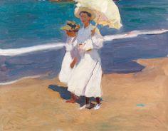 Joaquín Sorolla (Spanish 1863-1923) - En la playa - oil on board