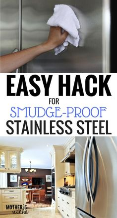 Cleaning Stainless Steel Appliances and Making Them Smudge Proof. Removing finger prints from stainless-steel appliances. Cleaning Stainless Steel Fridge, Diy Stainless Steel Cleaner, Cleaning Stainless Steel Appliances, Clean Fridge, Fridge Cleaning, Stainless Steel Polish, Cleaning Closet, Kitchen Cleaning, Household Cleaning Tips