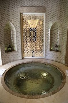 A hammam in Marrakech. Part of the photos for examples of functional uses of art in homes. Bathroom Lighting, Mirror, Furniture, Home Decor, Homemade Home Decor, Mirrors, Home Furniture, Interior Design, Decoration Home
