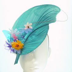 Turquoise Leaf Meg Hat - Spring Racing Carnival, Bespoke Headwear Made with French Abaca (also called Jinsin), cut plastic flowers, beads and wire